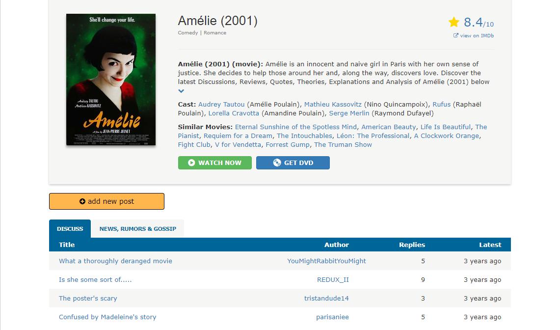 Amelie (2001) MovieChat Board