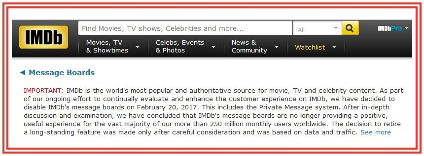 IMDB Message Boards Close