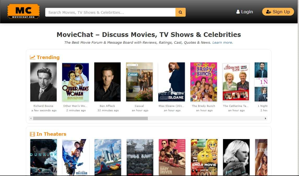 Moviechat homepage