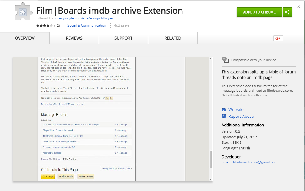 Filmboards Chrome Extension