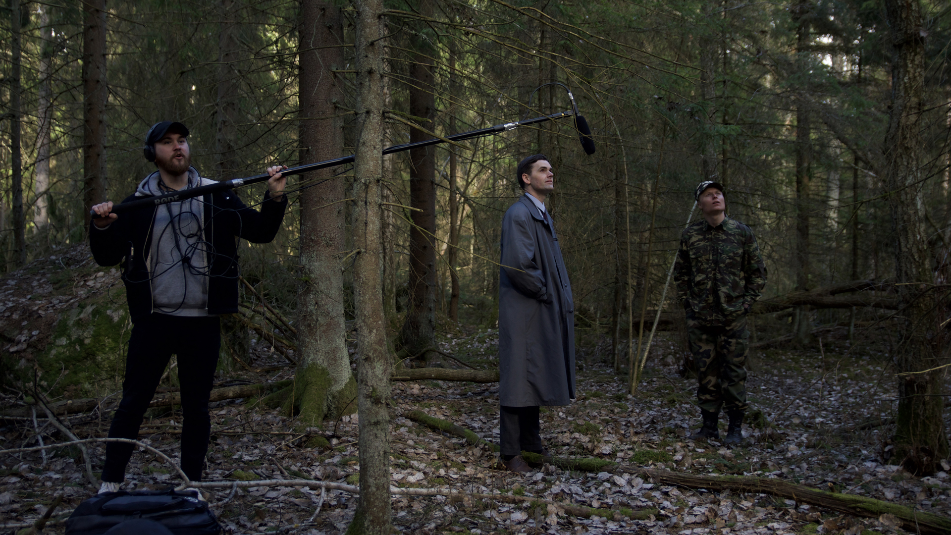 Actors Magnus af Sandeberg and Dennis Tapio together with boom operator sound mixer Elias Ehres