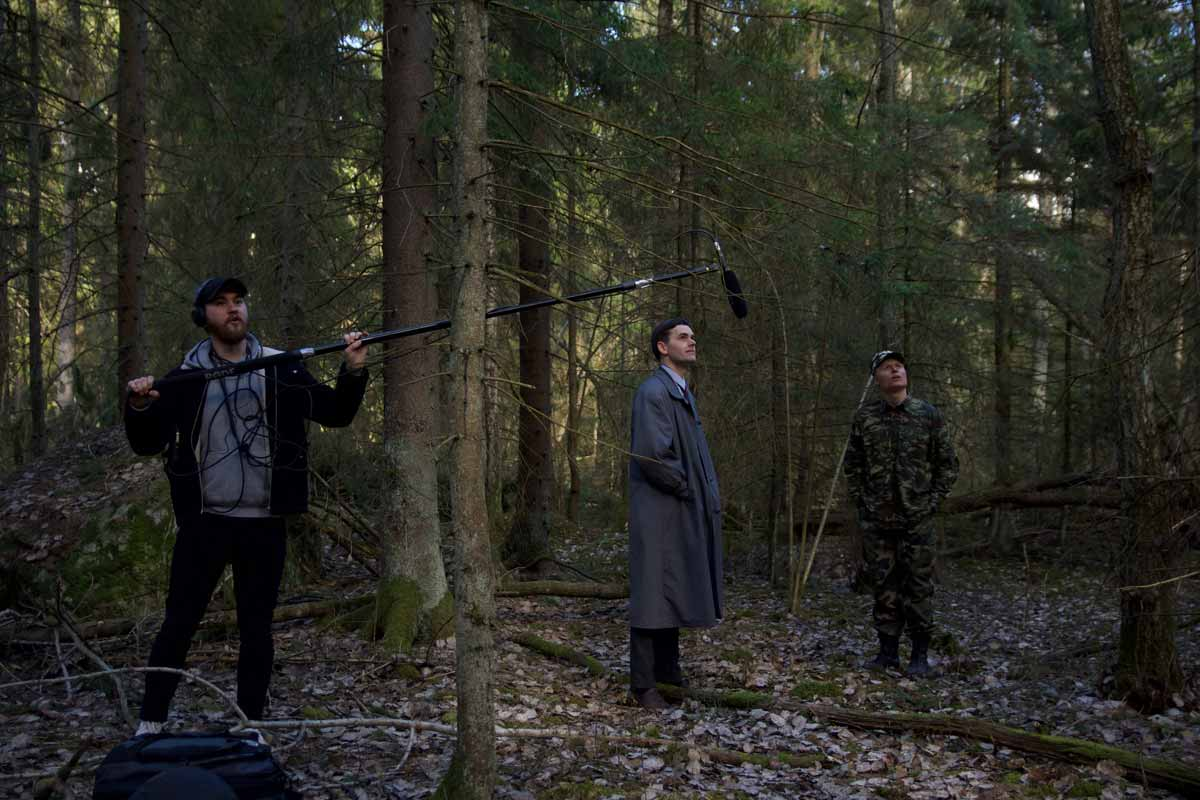 Actors Magnus af Sandeberg and Dennis Tapio together with boom operator sound mixer Elias Ehres on the set of Borders (2019)