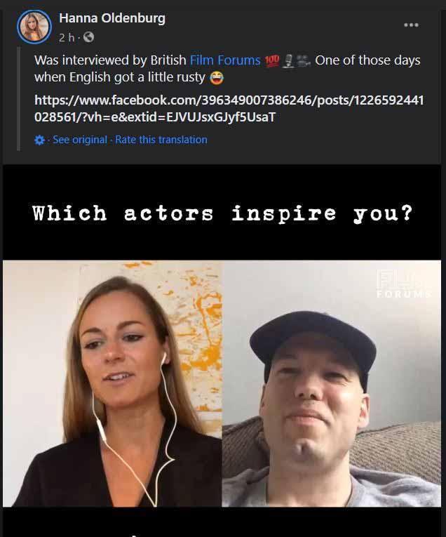 Hanna Oldenburg, Actress - Facebook