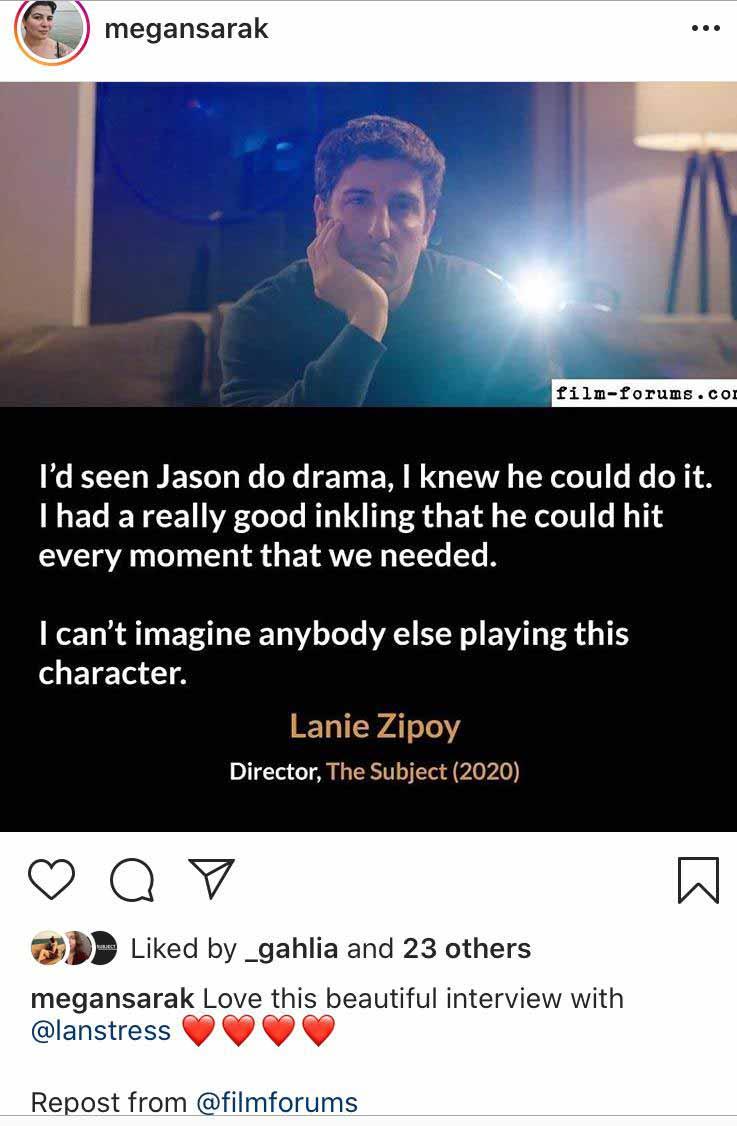 Megan-Sarak, Executive Producer, The Subject (2020) via Instagram