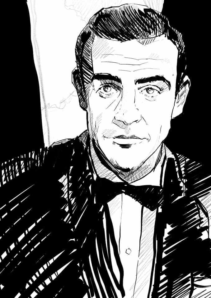 Sean Connery James Bond by Glen Stone Illustration