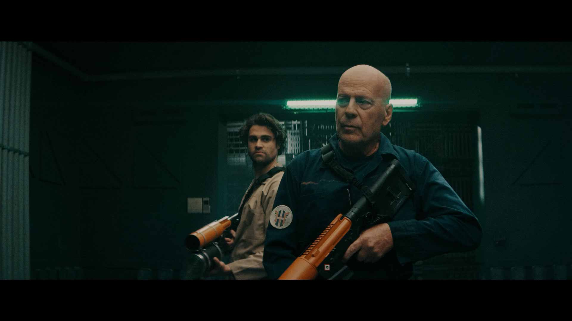 Bruce Willis and actor Cody Kearsley on Breach (2020)