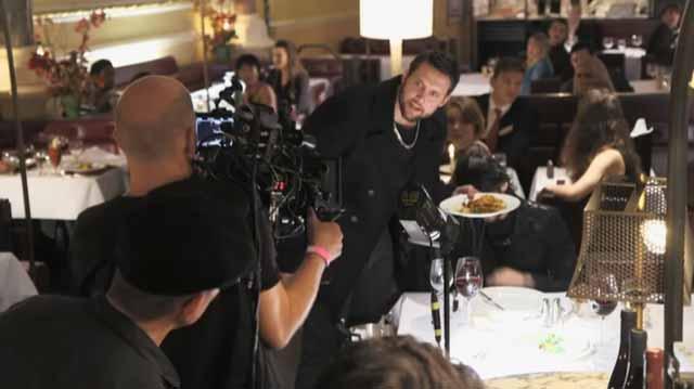 Actor Steve Aaron-Sipple on film set