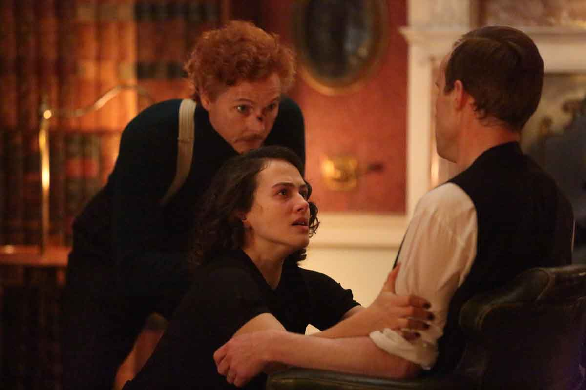 Sean Harris as Harry Price, Jessica Brown Findlay as Marianne in The Banishing (2020)