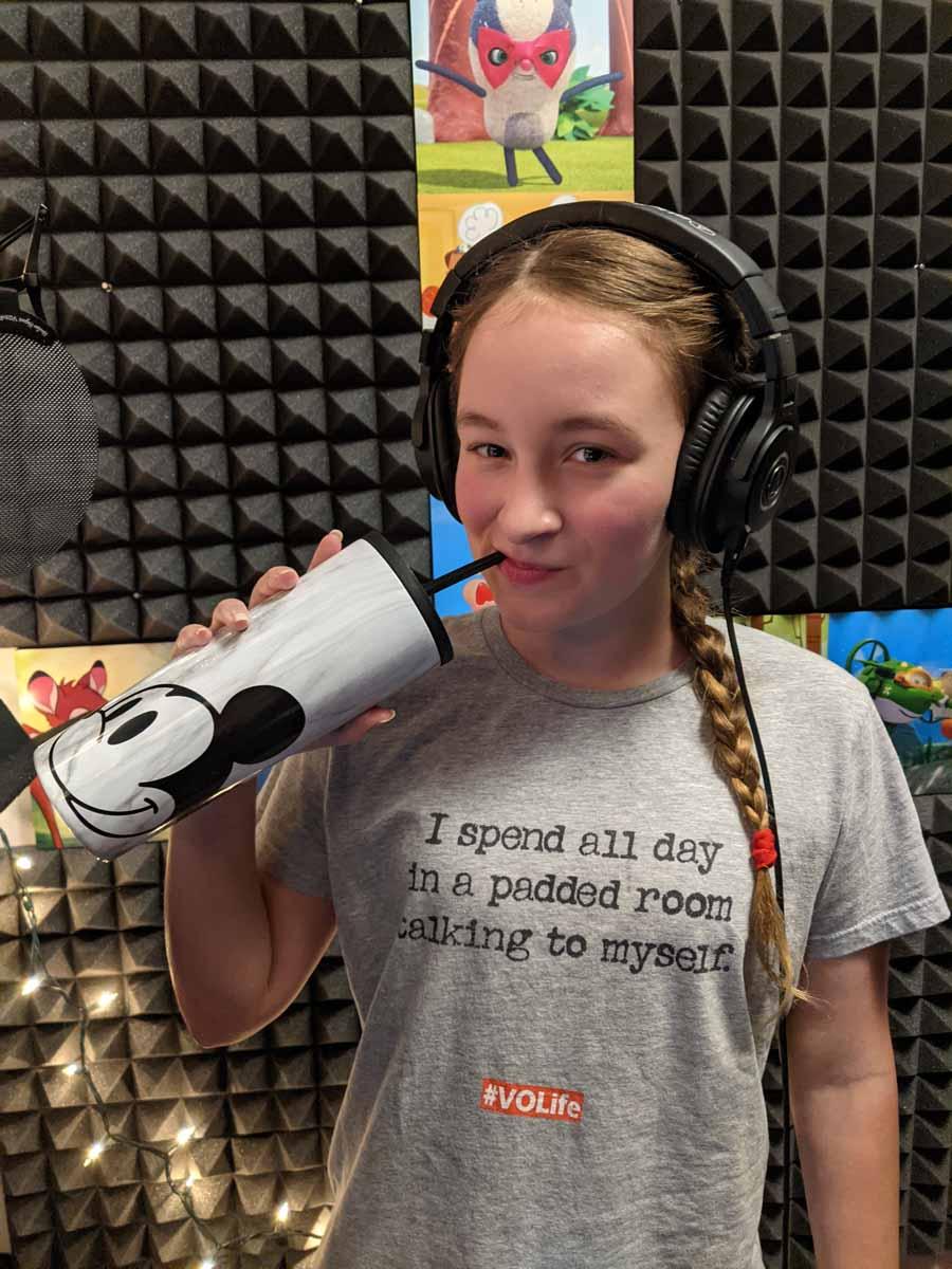 Sabrina Glow in home recording studio